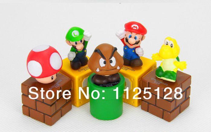 Free Shipping 5pcs/set Nintendo Video Game Mario Bro Action Figure Toys Nice Gift for kids children