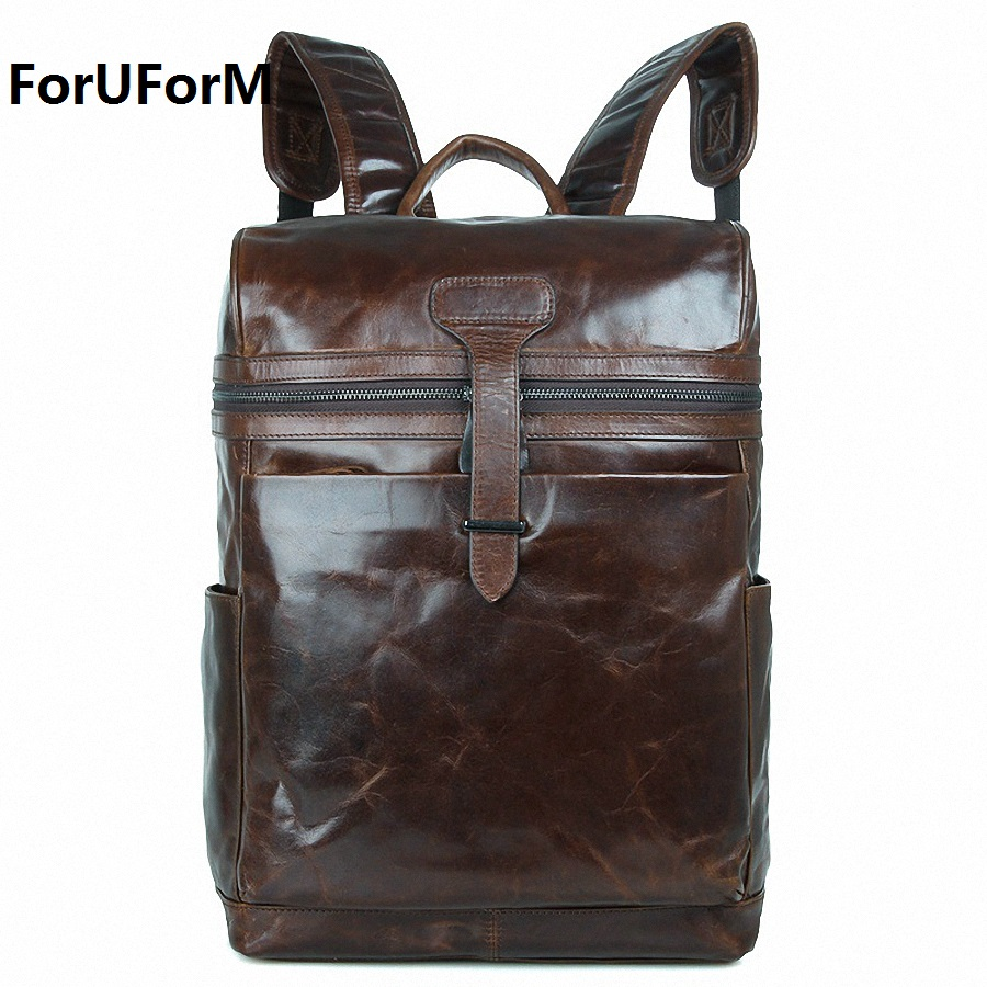 Men genuine Leather Backpacks School Bags For Teenagers College Bookbag 15.6 inch Laptop Backpacks Travel Bags Mochila LI-1367 100% genuine leather laptop backpacks for teenagers 7273a