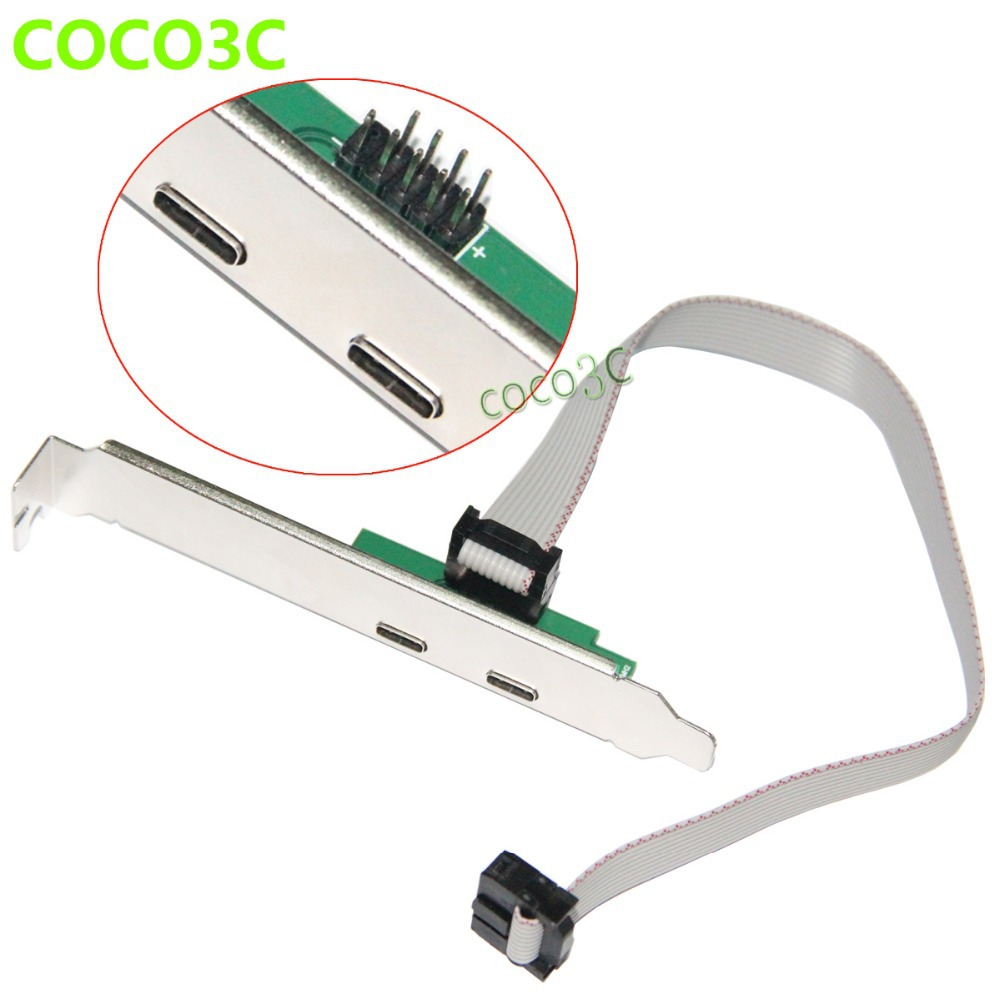 Free Shipping 9pin USB header to 2 USB 3.1 Type-C Cable USB2.0 Header to USB-C Adapter  Card with PCI-e Long Low profile Bracket vichy крем эксфолиант отшелушивающий vichy purete thermale purete thermale 17808494 75 мл