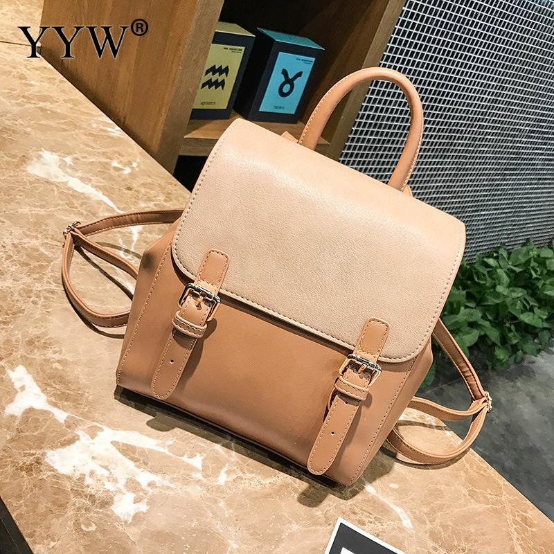 купить YYW Casual Backpack Women Backpacks Fashion Small School Bags For Girls Black Pu Leather Female Backpack Sac A Dos Shoulder Bag по цене 1457.99 рублей