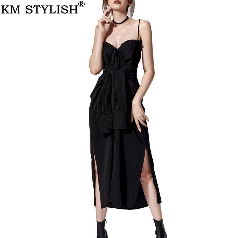 2019 nouveau rétro OL tempérament Spaghetti sangle Sexy taille robe Split Slim noir chemise robe deux porter