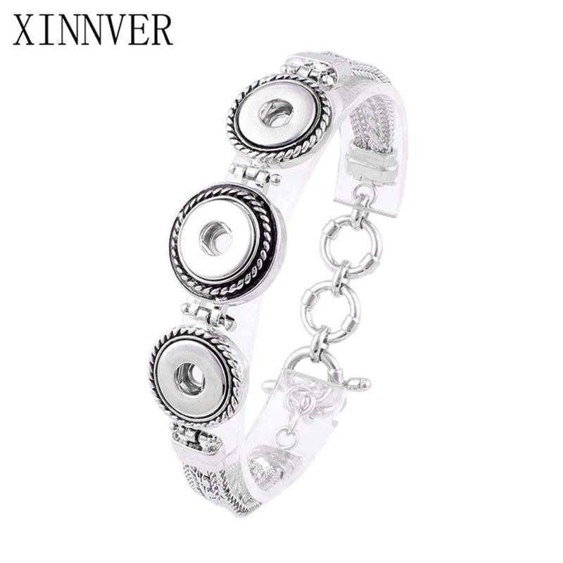 Hot Interchangeable Snap Bracelet&Bangles 3 Button Metal Bracelets Charms For Women Fit 12mm Snaps Button Jewelry ZE306