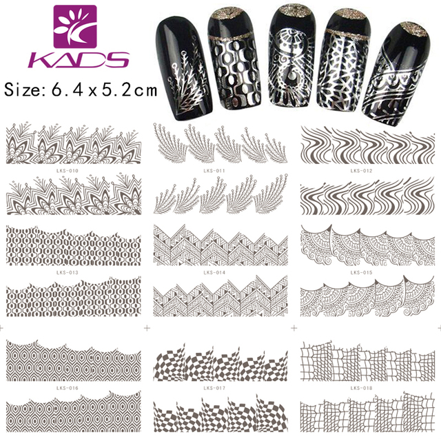Wholesale 18 Defferent Design 1000Sheet/Set Water Decal Silver Nail Sticker Nail Supplies Nail Designs + Individually Packaging