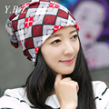 2016 Pocket Beanies Bonnet Hair Band Scarf Cotton lattice India Stocking Cap Retro Women Elastic Turban Hat Cap Hip-Hop