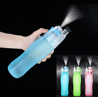 Creative Button Water Bottle Mist Spray Bottle Cup 740ML Portable Atomizing Cups Professional Sports Leakproof Dual