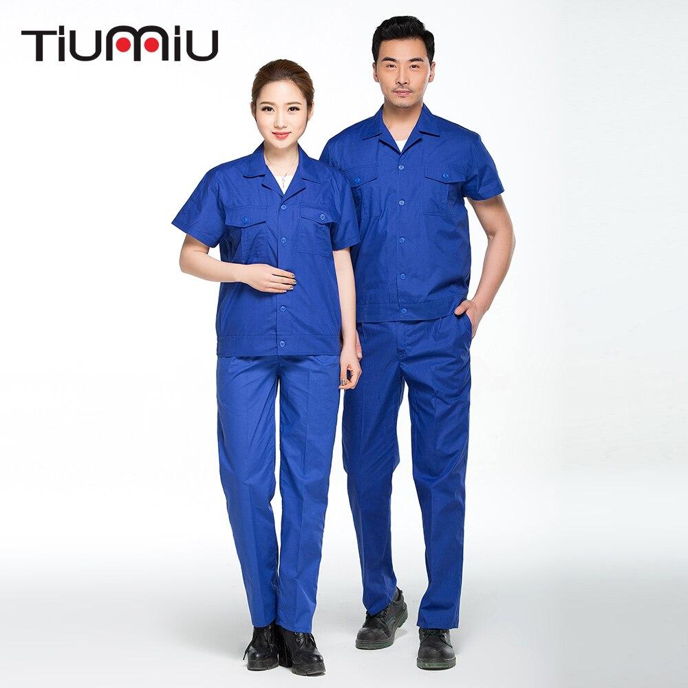 Wholesale High Quality Unisex Solid Engineering Uniform Work Clothing Summer Short Sleeves Blue Repairment Workshop Jacket+Pants