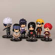6 PCS/Lot Japanese Anime Naruto Hatake Kakashi Uchiha Sasuke Action Figure Toy Cartoon Display Model Jouet Children Gift