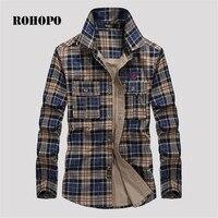 ROHOPO Shirt Casual Plaid Outwear 100% Cotton Man Plaid Long Sleeve Cotton Shirt New Design Man Chest pocket military shirts men