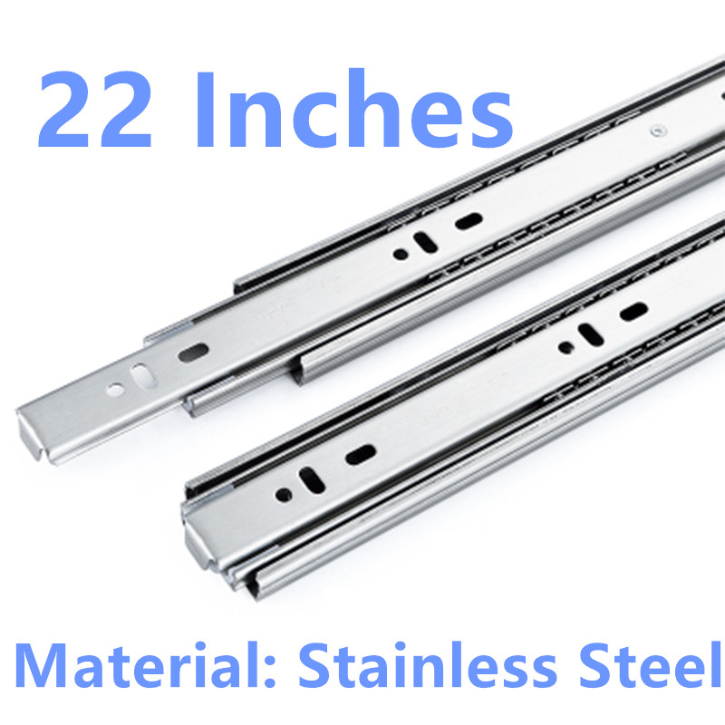 22 Inches Drawer slide rail keyboard slide rail stainless steel three section wardrobe ball slide rail track hardware fittings black hydraulic buffered rail track three drawer slide drawer slide ball bearing slide rail damping