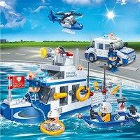 418pcs building block set Legoe Compatible new police boat water patrol 3D Construction Brick Educational Hobbies Toys for Kids