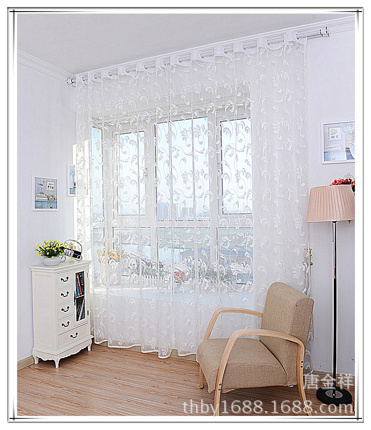Window Curtains Drapes Diy 1*2.7m Cool See Through Classical Beautiful  Floral White Gray
