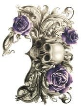 Body Art Beauty Makeup Pink Sexy Dangerous Sexy Skull And Purple Rose Tattoo Waterproof Temporary Tattoo Stickers