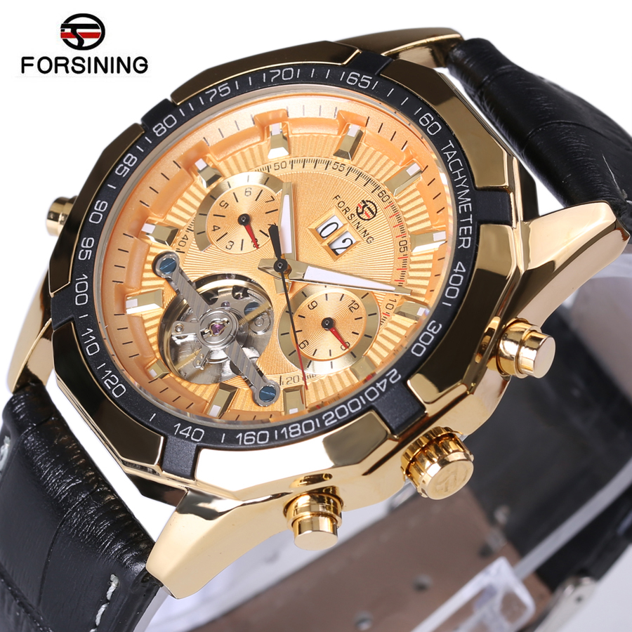Forsining Famous Brand Watch 2017 New Luxury Men Automatic Watches Gold Case Dial Genuine Leather Strap Fashion Tourbillon Watch