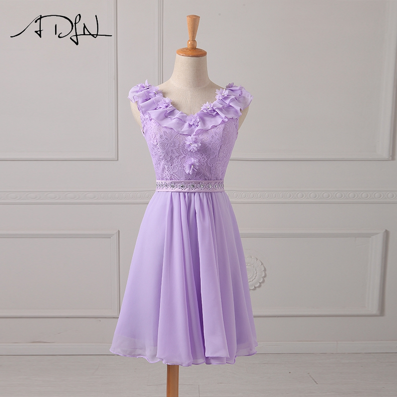 ADLN Real Photo Lilac Bridesmaid Dresses Short V-neck Sleeve Chiffon Wedding Party Gown Robe Demoiselle D'honneur