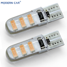 MODERN CAR 100pcs/lot T10 W5W 6 SMD 5630 5730 Led Silicone Car Signal Light Bulb Waterproof Side Wedge Dome Lights Parking Lamp
