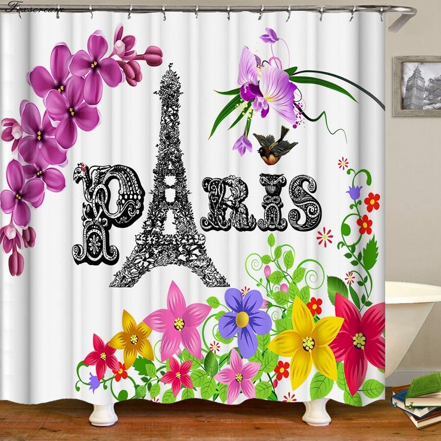 Paris shower curtains bathroom Decor fabric shower curtain 3d funny bath curtains waterproof shower curtain