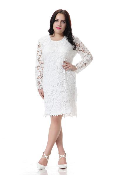Plus Size Lace Dress Women White Full Sleeve Party Dress With Hollow