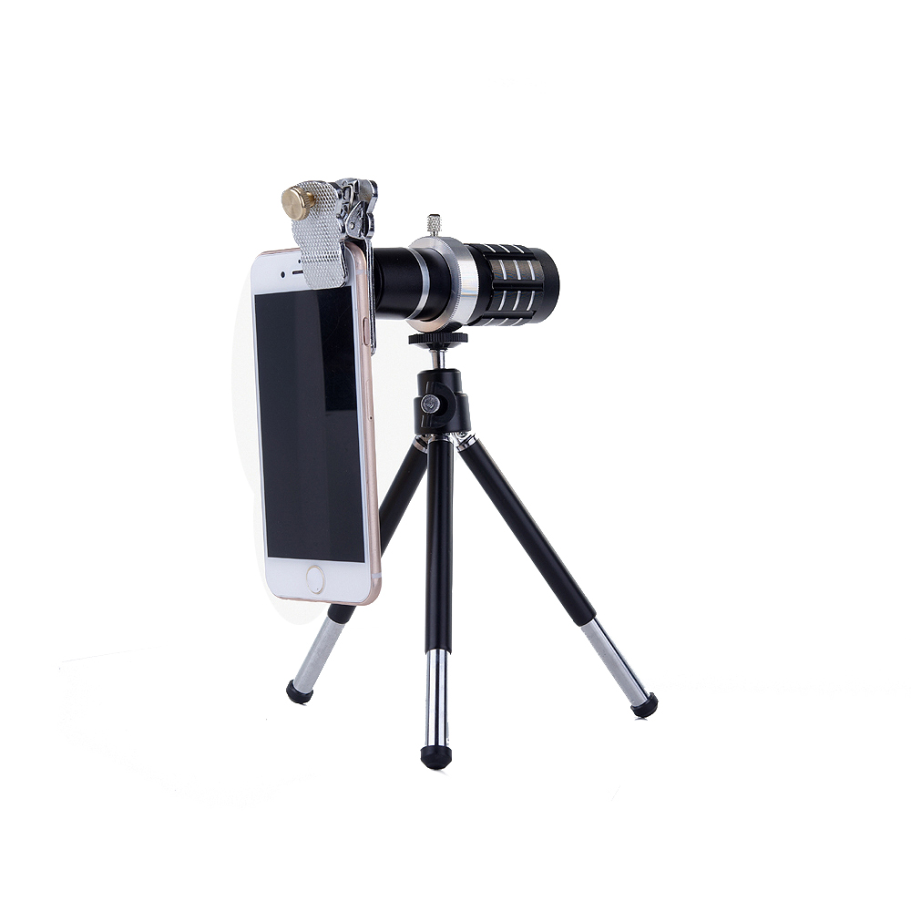 Free Shipping Universal Clip 12X Telephoto Lens Mobile Phone Camera Lens Optical Lenses For iPhone 5s 6 Samgung Huawei Xiaomi LG