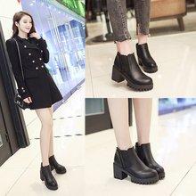 цены на Women's Boots 2018 Autumn Winter Warm Cotton Shoes Ankle Boots Female Fashion Casual High Heel Thick with Platform Short Boots  в интернет-магазинах