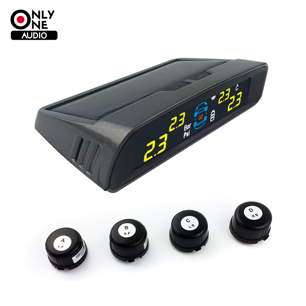 цена на ONLY ONE AUDIO auto car wireless TPMS tire pressure alarm system solar energy tpms with 4 external sensor Car diagnostic tool