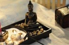 Zen Garden Kit Decor Meditation Sand Rocks Incense Candle Holder Rake Feng Shui Candlestick Home Ornament Decorations