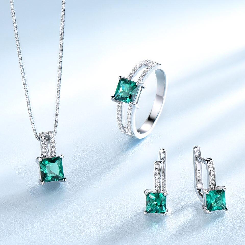 UMCHO Echtem 925 Sterling Silber Schmuck Sets für Frauen Edelstein Smaragd Ring Anhänger Ohrringe Hochzeit Engagement Schmuck