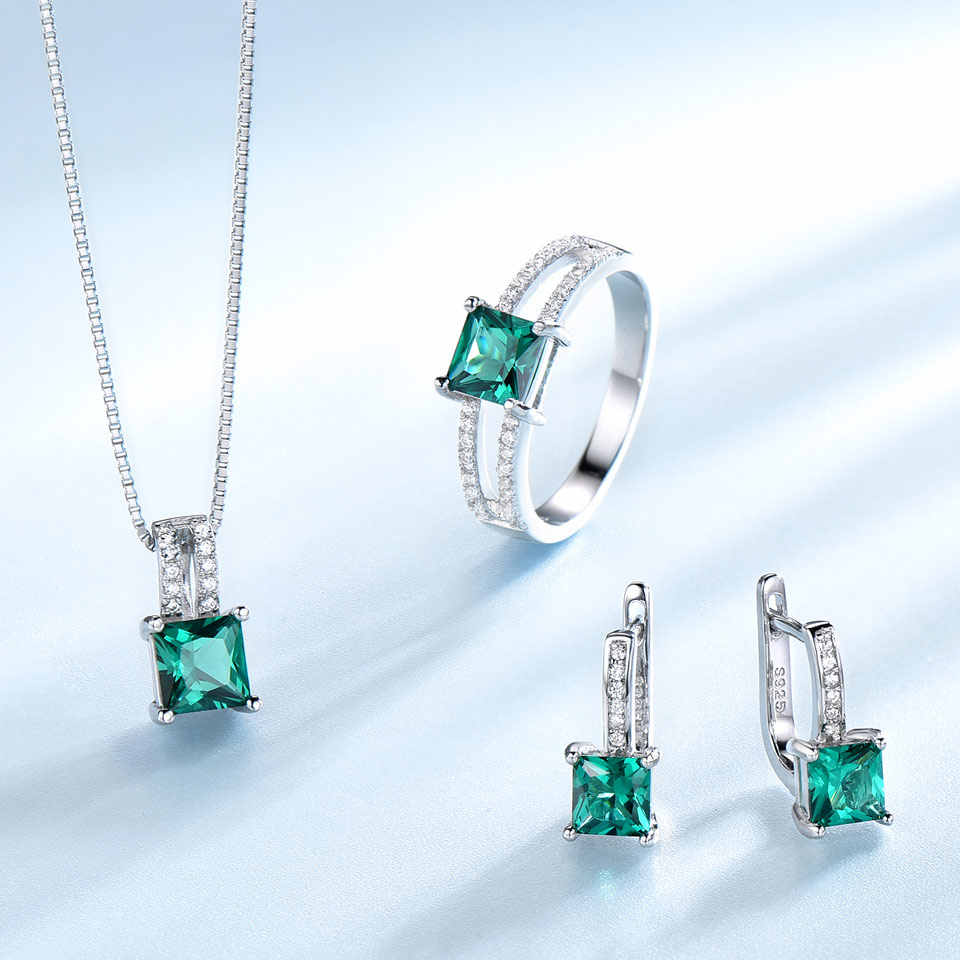 UMCHO véritable 925 bijoux en argent Sterling ensembles pour femmes pierre gemme émeraude anneau pendentif boucles d'oreilles bijoux de fiançailles de mariage