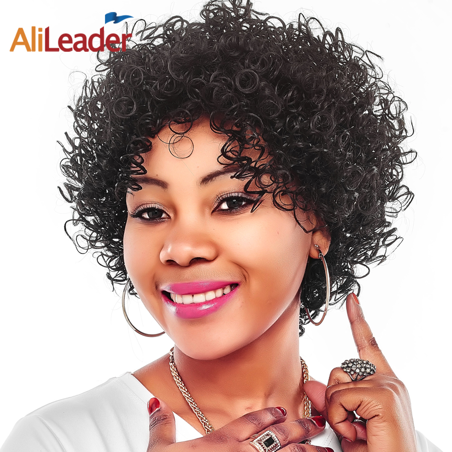 AliLeader Hair Products Kanekalon Synthetic Hair Afro Wig, Short African American Wigs kinky Curly Hair Style For Ladies/women