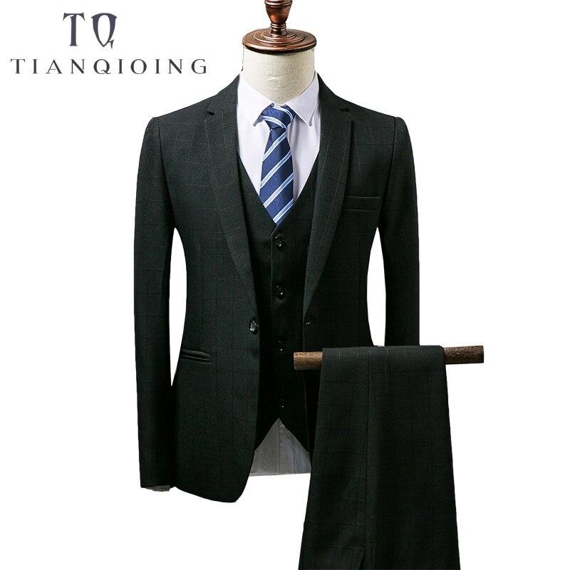 TIAN QIONG Mens Wedding Suit 2018 Autumn Slim Fit Man Business Suit Fashion Printed 3 Piece Groomsmen Suits Tuxedo Jacket TQZ065