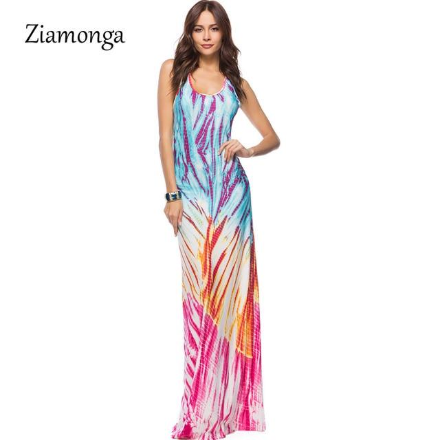 bf370bad21 Ziamonga mujeres gradiente imprimir vestido 2018 verano Maxi Vestidos más tamaño  4XL 5XL playa de vacaciones