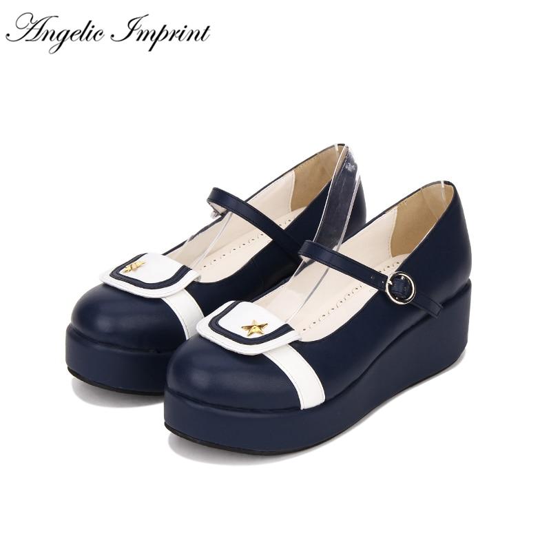 Japanese Sailor Lolita School Girl Uniform Thick Platform Wedge Mary Jane Shoes japanese sailor lolita cosplay thick platform cross