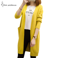 Zoe Saldana 2017 Women Autumn Sweater Long Cardigan Pockets Loose Solid Knit Sweater Casual Outwear Coat