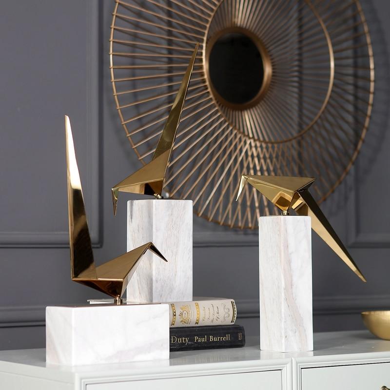Nordic Geometric Golden Bird Statues