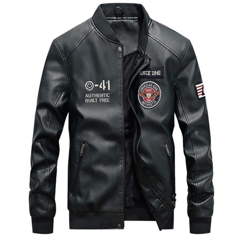 Hommes mode broderie 4XL moto vestes PU cuir veste hommes nouvelle marque printemps automne col montant Baseball en cuir manteau - 6