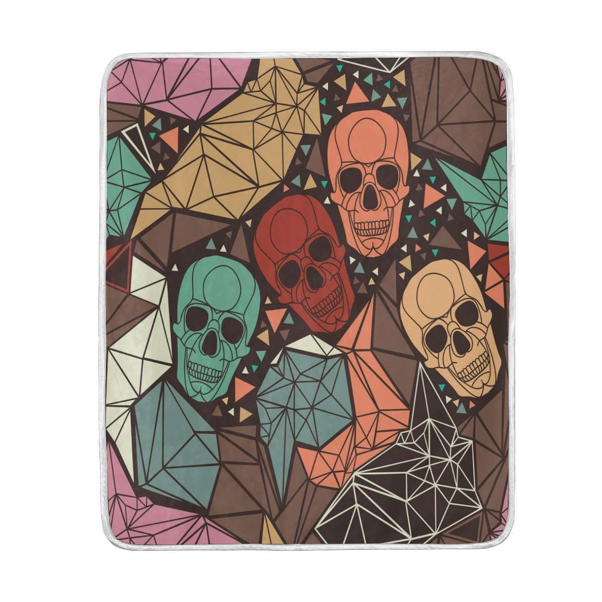 Halloween Colorful Sugar Skull Blanket Soft Warm Cozy Bed