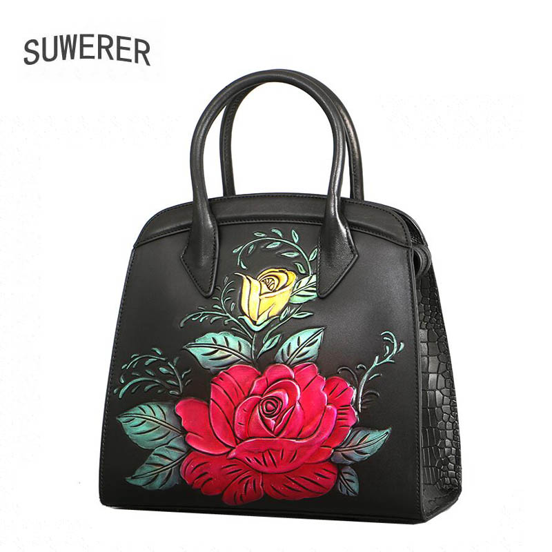 2018 New Women Genuine Leather bag luxury handbags women bag designer fashion Painted embossing top Cowhide women bags handbag 2016 new women genuine leather bag fashion chinese style top quality cowhide embossing women leather handbags shoulder bag