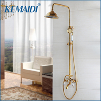 KEMAIDI Shower Faucets Set Solid Brass Shower Head Aerator Nozzle High Pressure Golden Crystal Ceramic Handle Shower Tap Sets