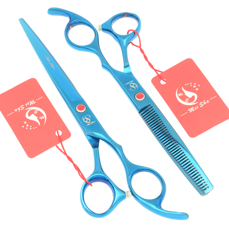 7.0 Inch Big Professional Hairdressing Cutting Scissors 6.5 Inch Thinning Shears Salon Barbers JP440C Blue Hair Tesouras HA0364