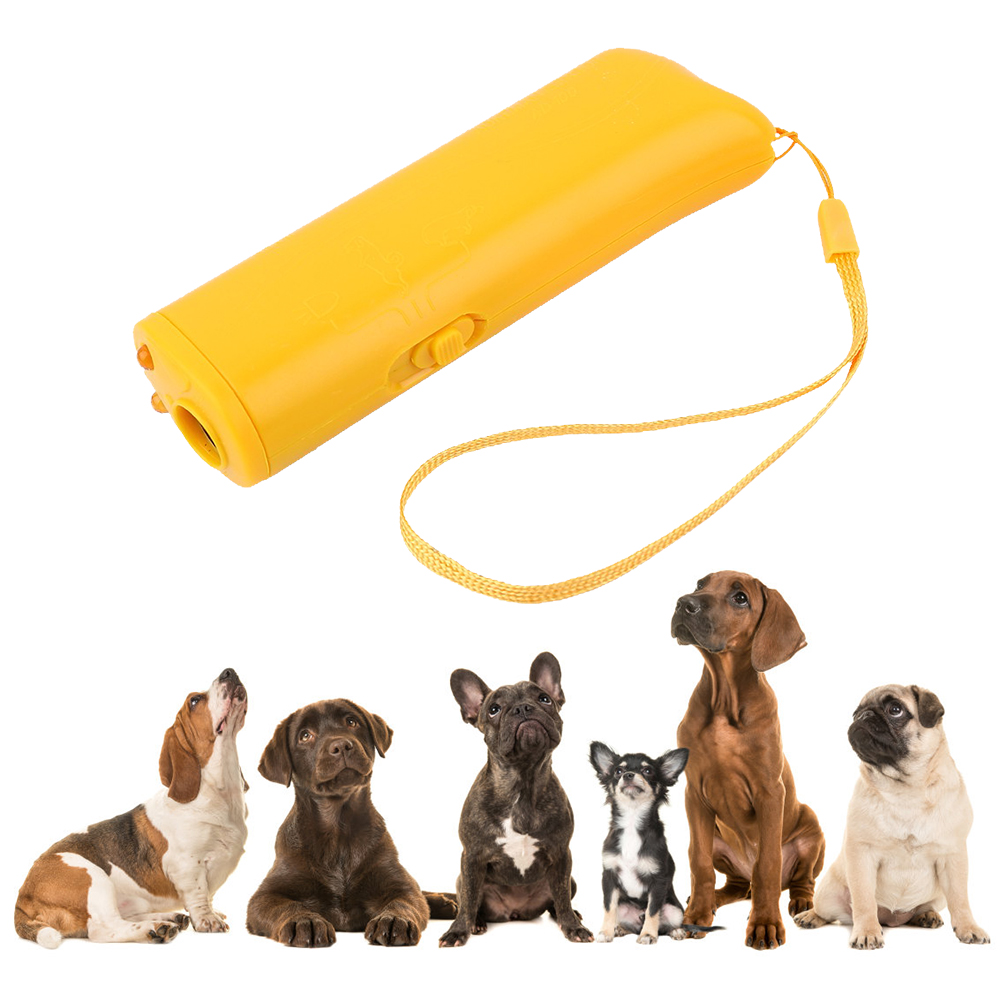 Pet Dog Repeller Anti Barking Dog Training Device Trainer LED Ultrasonic 3 in 1 Dog Toys Without Battery for Dogs Pet Supplies(China)