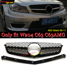 For MercedesMB C Class W204 C63AMG Look ABS Black Front Grille Without Sign Only Fit C63 Style Grill 2008-2011