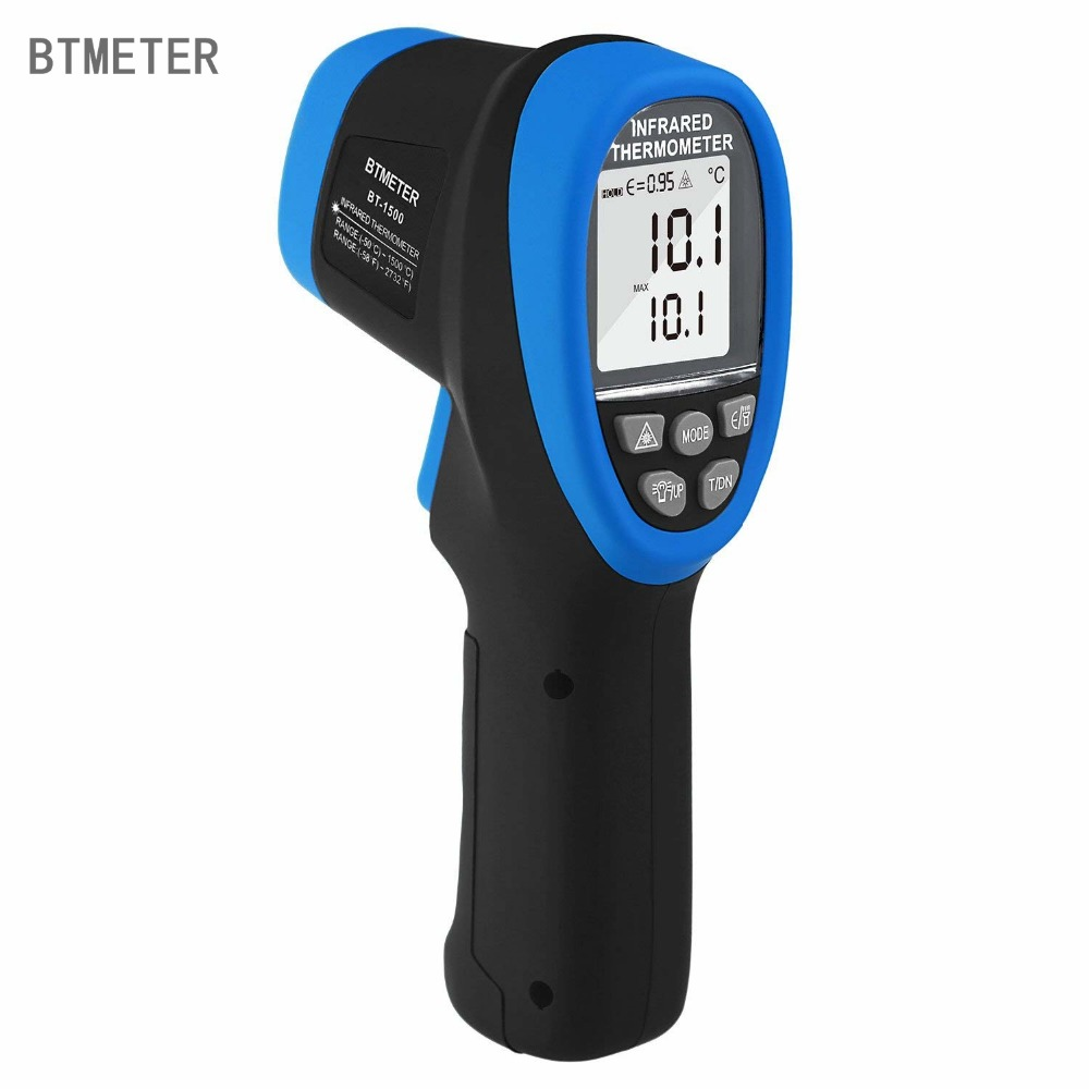 BT-1500 Não-Contato Digital Duplo Ponteiros Laser IR Termômetro Gun 30: distância Spot Ratio 1 para Electric Industrial Automotivo