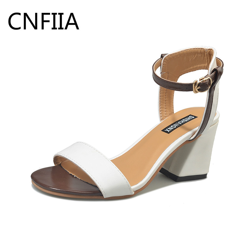 CNFIIA Women Sandals High Heels 7.5cm Ladies Shoes Female High Heel Open Toe Shoes Women Sandals Fashion Summer 2018 White Black hxrzyz high heels sandals women rivet thick heel clear shoes summer fashion ladies open toe black white comfortable women shoes