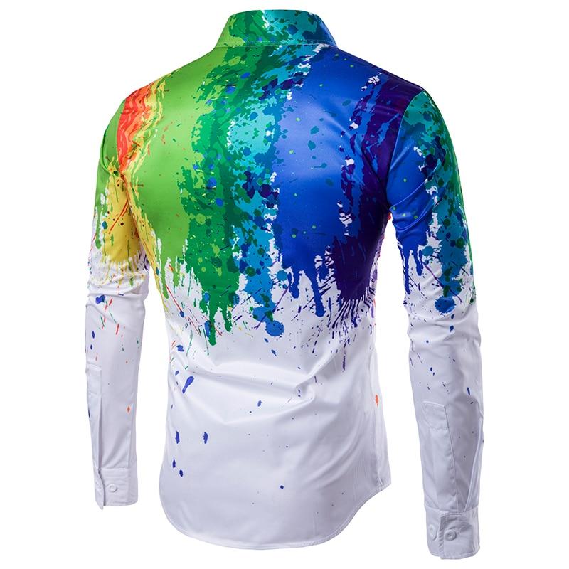 Neue Ankunft Männer Shirt Langarm Männer Druck Bunte Hemden Mode - Herrenbekleidung - Foto 2