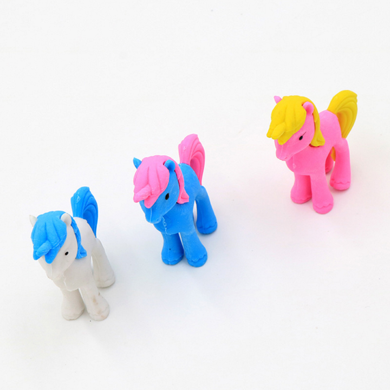 1pcs/lot Cute Cartoon Pony Animal Eraser Kawaii Mini Animal For School Student Stationery Kids Prize Toys Gift