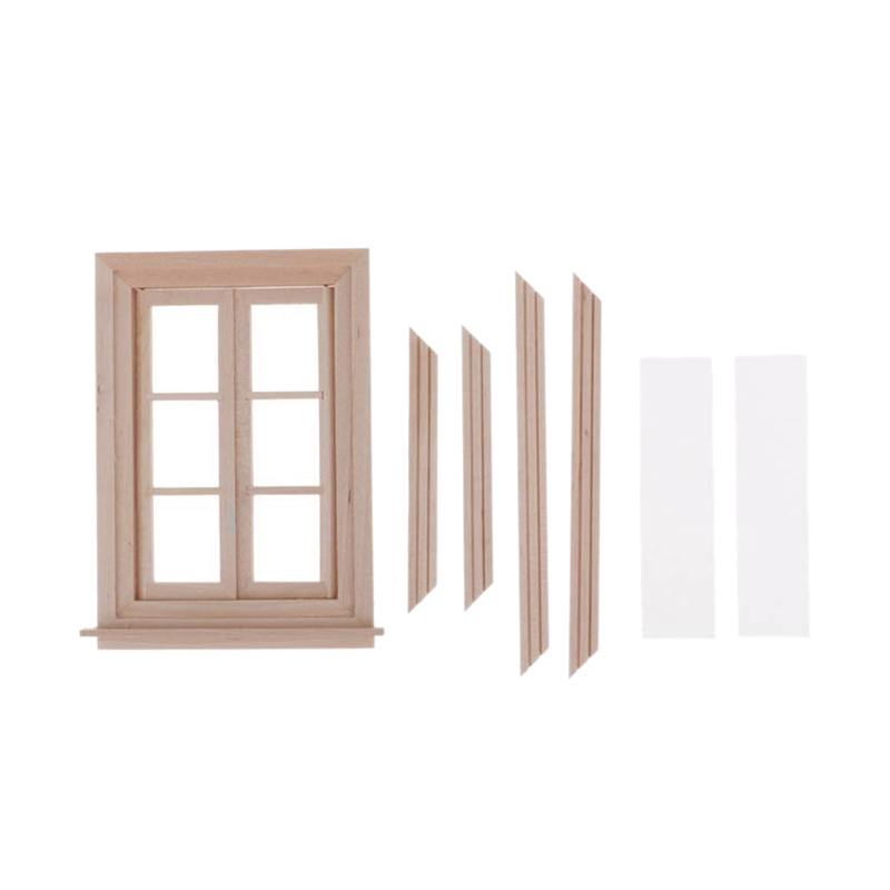 1:12 Dollhouse Miniature Double Window Wooden 6 Pane Frame and Glass Plate Doll House Diy Double Window Accessories for Doll H image