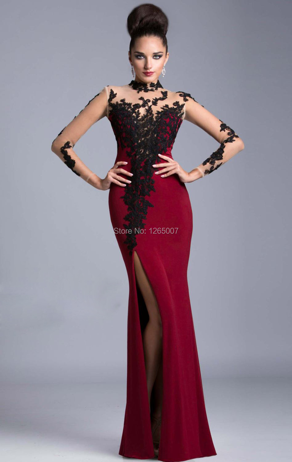 Hot Prom Gowns High Neck Long Sleeves Black And Red Mermaid Prom ...