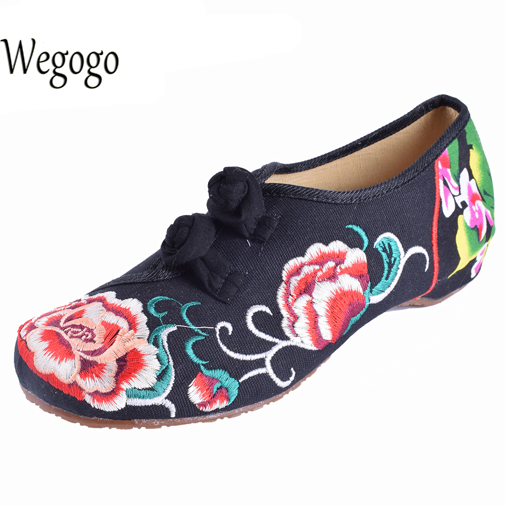 Size 34 41 Fashion Shoes Woman Old Beijing Mary Jane Flats Casual Chinese Style Peony Flower