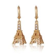 2017 New style  Gold Plated Zircon Eiffel Tower Dangle Earrings