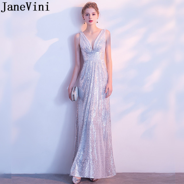 Janevini Custom Design Silver Long Evening Dresses Elegant Bling Sequin V Neck Mother Of The