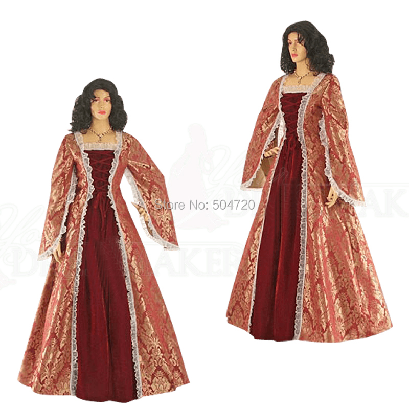 Luxs RrED Duchess Princess 17 century regency Renaissance Gothic Theater  medieval Halloween Gown Ball dress HL-184 aabfb5c069c3